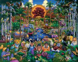 Animals of Eden Folk Art Jigsaw Puzzle