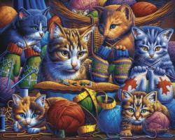 Kittens Knittin' Mittens Cats Jigsaw Puzzle