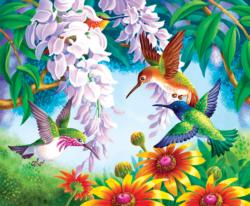 Hummingbird Fly By Flowers Jigsaw Puzzle
