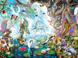 Fairies at the Falls Unicorns Jigsaw Puzzle