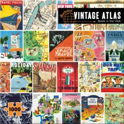 Vintage Atlas Collage Jigsaw Puzzle