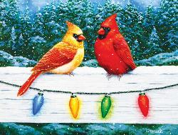 Christmas Cardinals Greeting Snow Jigsaw Puzzle