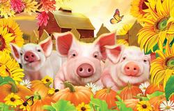 Pig Pen Farm Animals Jigsaw Puzzle