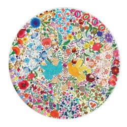 Blue Bird Yellow Bird Birds Round Jigsaw Puzzle