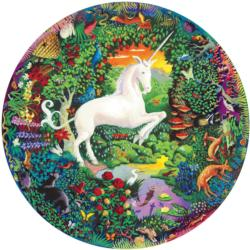 Unicorn Garden Unicorns Round Jigsaw Puzzle