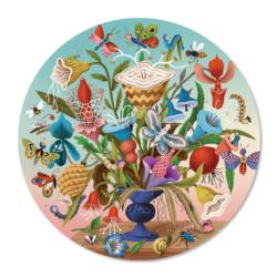 Crazy Bug Bouquet Flowers Round Jigsaw Puzzle