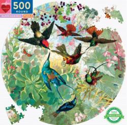 Hummingbirds Birds Round Jigsaw Puzzle