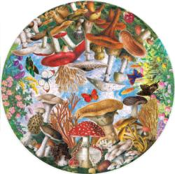 Mushrooms and Butterflies Plants Round Jigsaw Puzzle