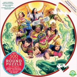 Goddesses and Warriors Super-heroes Round Jigsaw Puzzle
