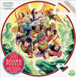 Goddesses and Warriors Fantasy Round Jigsaw Puzzle