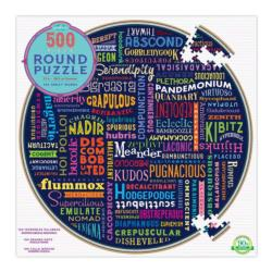 100 Great Words Collage Round Jigsaw Puzzle