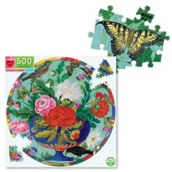 Bouquet & Birds Flowers Round Jigsaw Puzzle