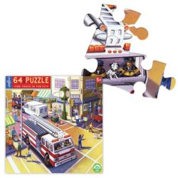 Fire Truck in the City Vehicles Children's Puzzles
