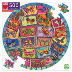 Vintage Butterflies Butterflies and Insects Round Jigsaw Puzzle