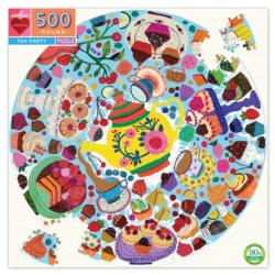 Tea Party Sweets Round Jigsaw Puzzle