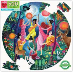 Moon Dance Night Round Jigsaw Puzzle
