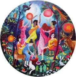 Moon Dance Dance Round Jigsaw Puzzle