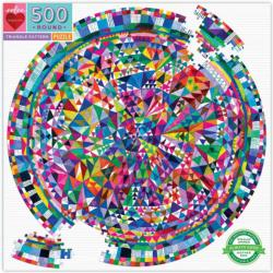 Triangle Pattern Pattern / Assortment Round Jigsaw Puzzle