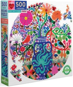 Birds And Flowers Flowers Round Jigsaw Puzzle