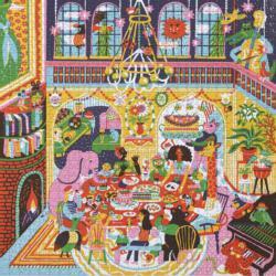 Family Dinner Night Domestic Scene Jigsaw Puzzle