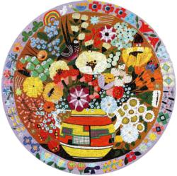 Purple Bird and Flowers Flowers Round Jigsaw Puzzle