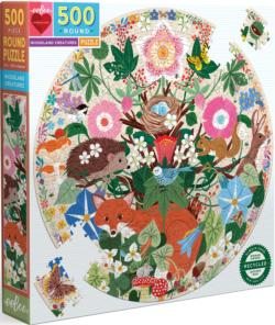Woodland Creatures Forest Round Jigsaw Puzzle