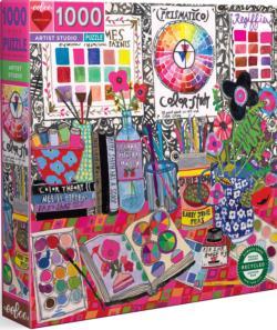 Artist Studio Crafts & Textile Arts Round Jigsaw Puzzle