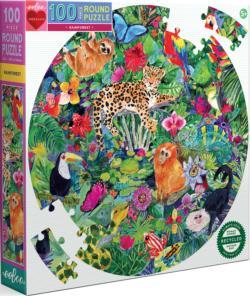 Rainforest Forest Round Jigsaw Puzzle