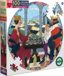 Queen's Gambit History Round Jigsaw Puzzle