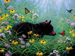 Black Bear and Butterfly Nature Jigsaw Puzzle