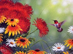 Hummingbird and Red Flower Flowers Jigsaw Puzzle