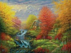 Secluded Cottage Waterfalls Jigsaw Puzzle