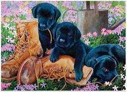 Trouble in the Garden Dogs Jigsaw Puzzle