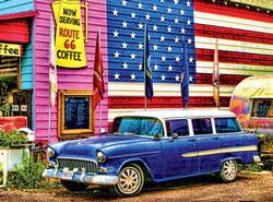 Route 66 (Colorluxe) Americana & Folk Art Jigsaw Puzzle