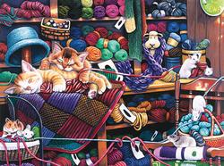 Midnight at the Yarn Shop Cats Jigsaw Puzzle