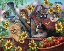 Sunflower Kittens Sunflower Jigsaw Puzzle