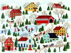 The Covered Bridge Winter Jigsaw Puzzle