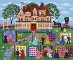 Quilt Sale Folk Art Jigsaw Puzzle