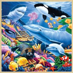Undersea Friends II (Wood Fun Facts) Marine Life Wooden Jigsaw Puzzle