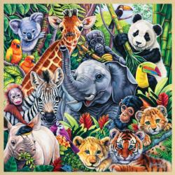 Safari Friends (Fun Facts) Jungle Animals Wooden Jigsaw Puzzle