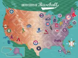 MLB USA Map - Scratch and Dent Baseball Jigsaw Puzzle