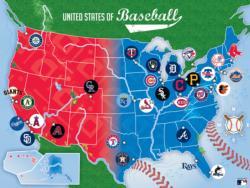 MLB League Baseball Map Baseball Jigsaw Puzzle