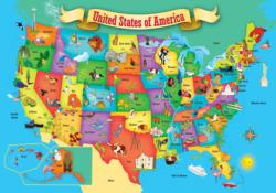 USA Wood Map United States Jigsaw Puzzle