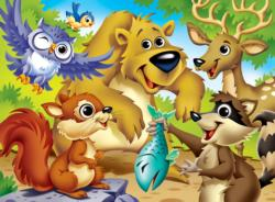 Woodland Animals (Googly Eyes) Wildlife Jigsaw Puzzle