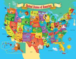 USA Map State Shaped Maps / Geography Children's Puzzles