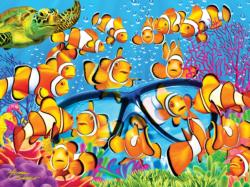 Curious Clownfish Under The Sea Large Piece