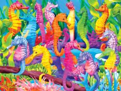 Singing Seahorses (Extreme Color) Collage Large Piece