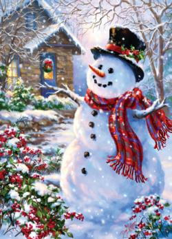 Let it Snow (Holiday Glitter) Snowman Jigsaw Puzzle