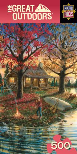 Autumn Sunset Cottage / Cabin Jigsaw Puzzle