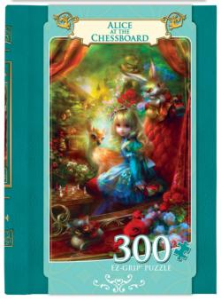 Alice at the Chessboard (Book Box) Library / Literary Large Piece